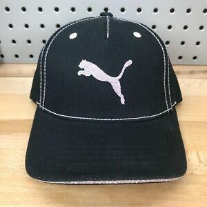 PUMA Logo Black and Pink YOUTH Glitter Hat Adjustable Hook & Loop Closure NWT