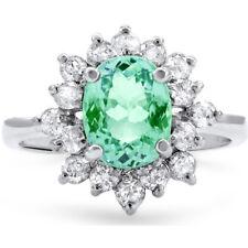 Certified 2.05ct Natural Paraiba Tourmaline w/ 1.05cttw Diamonds 14KT Gold Ring