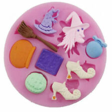 Witch Halloween 9 Cavity Silicone Mold for Fondant Gum Paste Chocolate Crafts