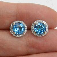 2.00Ct Blue Topaz & Diamond Halo Stud Earrings For Womens 14k Yellow Gold Finish