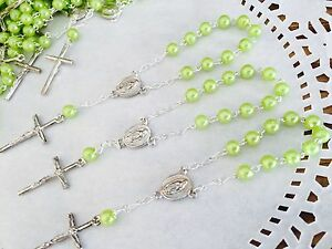 50 Pc Mini Rosary APPLE GREEN  Baptism Favors/ Vintage Silver /baptism Favors/