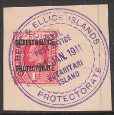 GILBERT & ELLICE ISLANDS 1911 #2 POSTMARK BUTARITARI ISLANDS USED STAMP on PIECE