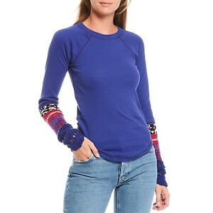 NWT Free People Purple In The Mix Cuff Thermal Sweater - Size S - Retail $78