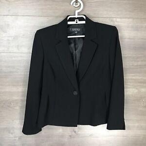 KASPER Women's Size 4P Petite Blazer Jacket 1-Button Black Lined Career Work