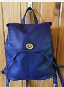 Coach Park Backpack Purse F24385 Blue Pebbled Leather EUC