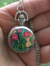 women ladies tulips flowers mini necklace pendant pocket watch silver ton