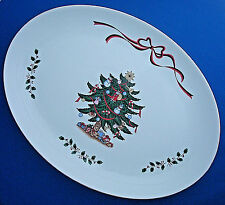 "14"" Happy Holidays Ribbons Christmas Tree oval serving platter made in Japan"
