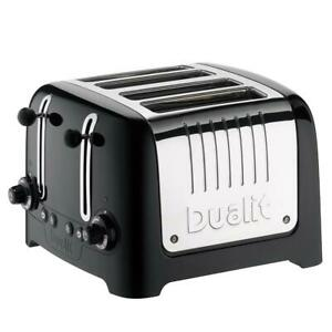 Dualit 4 Slice Lite Toaster With Bagel And Defrost Button Stainless Steel Black