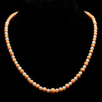 Antique Victorian Graduated Natural Coral & Pearl 9ct Rose Gold Necklace