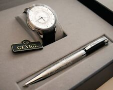 NEW Gevril 2002 Watch Pen Set Mens Columbus Circle Automatic Black Leather Swiss
