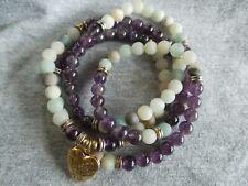Wrap bracelet necklace Mala Amazonite with Amethyst beads heart locket.