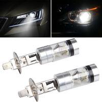 2pcs H1 100W LED White 12-24V 20-SMD Projector Fog Driving DRL Light Bulb 6000K