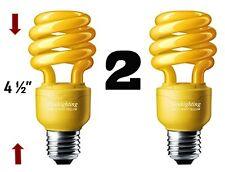 SleekLighting 13 Watt Yellow Bug Light Spiral CFL Light Bulb 120Volt, E26 2Pack