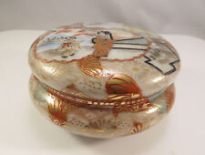 Japanese Nippon Kutani Porcelain Lidded Container Box Geisha River Japan