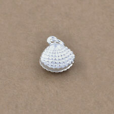 Sterling Silver .925 Sea Shell Clam Ocean Beach 3D Charm Bead Pendant Jewerly