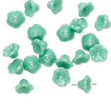 8547 Glass Czech Flower Cone Beads Seafoam PK10 7mm *UK EBAY SHOP*