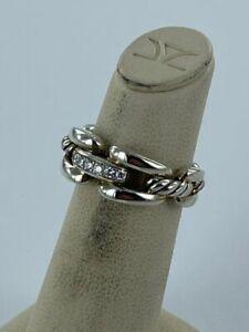 David Yurman Wellesley Ring 8mm Sterling Silver Diamond Sz 5 New