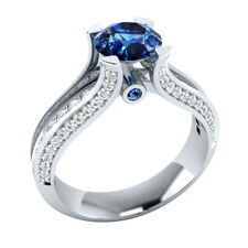 Certified 2.00Ct Blue Sapphire Brilliant Cut Engagement Ring 14K White Gold.