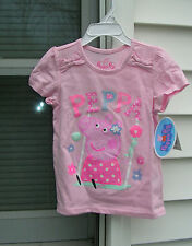 """""""PEPPA PIG"""" Adorable  GIRL'S PINK SHORT SLEEVE SHIRT SIZE 4T  NWT  #S4T"""