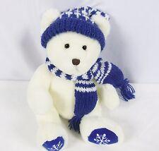 "Yangjee Plush White Polar Bear Snowflake Paws Blue Scarf and Hat 14"""