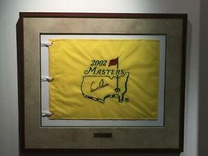 JSA MINT ARNOLD PALMER AUTOGRAPHED SIGNED 2002 MASTERS GOLF FLAG FRAMED JSA LOA