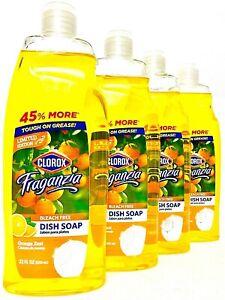 4 Bottles Clorox Fraganzia 22 Oz Limited Edition Orange Zest Liquid Dish Soap