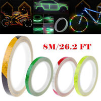 8m Wheel Reflective Sticker Rim Luminous Warning Tape for Bike Car Motorcycle