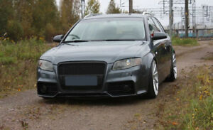 Whole S4 A4 B7 Full Front bumper RS Style Bodykit Tuning Black Grill Mesh S-line