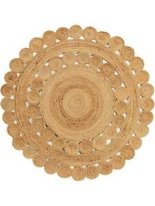 Rug Round Handmade 100% Natural Jute Braided Reversible Rustic Look Floor Carpet