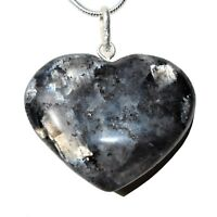 """Charged Titanium Flash LARVIKITE Crystal Heart Perfect Pendant™ 20"""" Silver Chain"""