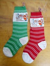 Pr. Circa 1930 Antique Christmas Stockings Red & Green With Litho Santa
