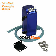 UNIVERSAL ALUMINUM SQUARE ENGINE OIL CATCH TANK BREATHER CAN/TANK + HOSE KIT