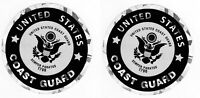 """Coast Guard Decals Stickers Lot of 2 Round 3"""" Metallic Eagle Style"""