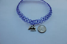 purple stretchy tattoo choker necklece with elephant Tibetan silver charm- retro