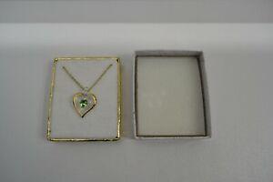 NIB-Handmade-Glass Baron-August Heart Shape Birthstone Necklace W/22K Gold Trim