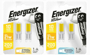2 PACK Energizer G9 LED Bulbs Light Lamp  2w=21w 200Lumens WARM WHITE DAYLIGHT