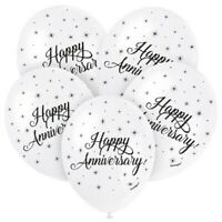 """5 X HAPPY ANNIVERSARY HELIUM 12"""" LATEX BALLOONS PARTY DECORATION WHITE SILVER"""