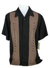 Cubavera Men's Black Button Down Embroidered Panel Cuban Shirt Size Small