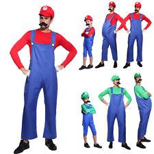 Mens & Kids Super Mario and Luigi Bros Fancy Dress Halloween Costume Plumber