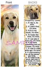 LABRADOR Retriever BOOKMARK Yellow Lab DOG RULES Property LAW Book Mark Card ART