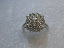 Tiered CZ/Rhinestone Domed Ring, 1980's, size10, 18KT HGE, Silver Tone