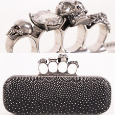 NEW $2,090 ALEXANDER MCQUEEN Black Leather STUDDED Four Ring KNUCKLE Clutch BAG