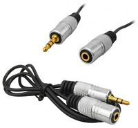 PURE OFC Pro Audio 3.5mm Stereo Jack Aux Headphone Extension Cable Lead Gold