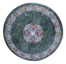 """24"""" Green Marble Coffee Table Top Marquetry Floral Art Inlay Art Furniture Decor"""