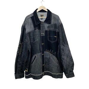 Akademiks Black & Blue Faded Denim Jacket Zig Zag Stitch Accent Men's Size 3XL