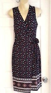 Le Lis Womens Dress Size Small Stitch Fix Polka Dot Sleeveless Wrap Navy Blue