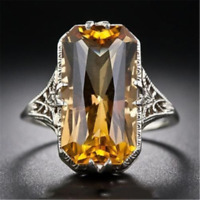 Fashion Women 925 Sliver Ring Citrine Natural Party Wedding Engagement #6-9 Gift
