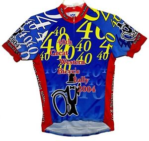 """Sz M GREAT WESTERN BICYCLE RALLY 2004 Jersey 40th Annual  Poly 19"""" Zip VOLER USA"""