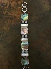 Sterling Silver Multi Shapes Abalone,moonstone And Pearl Stunning Bracelet