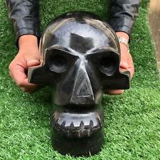 Natural black tourmaline quartz Skull Hand Carved Crystal Skull Healing 32.89LB